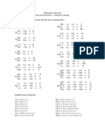 Lista de Exercícios 5 - Sistemas Lineares
