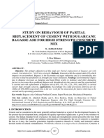 STUDY ON BEHAVIOUR OF PARTIAL REPLACEMENT OF CEMENT WITH SUGARCANE BAGASSE ASH FOR HIGH STRENGTH CONCRETE MIX