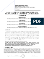 INNOVATIVE USE OF BRICK POWDER AND MARBLE DUST AS A MINERAL ADMIXTURE IN CONCRETE