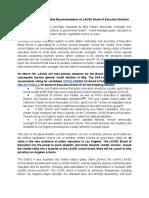 DSA-LA Politics Committee Recommendation on LAUSD Board of Education Election