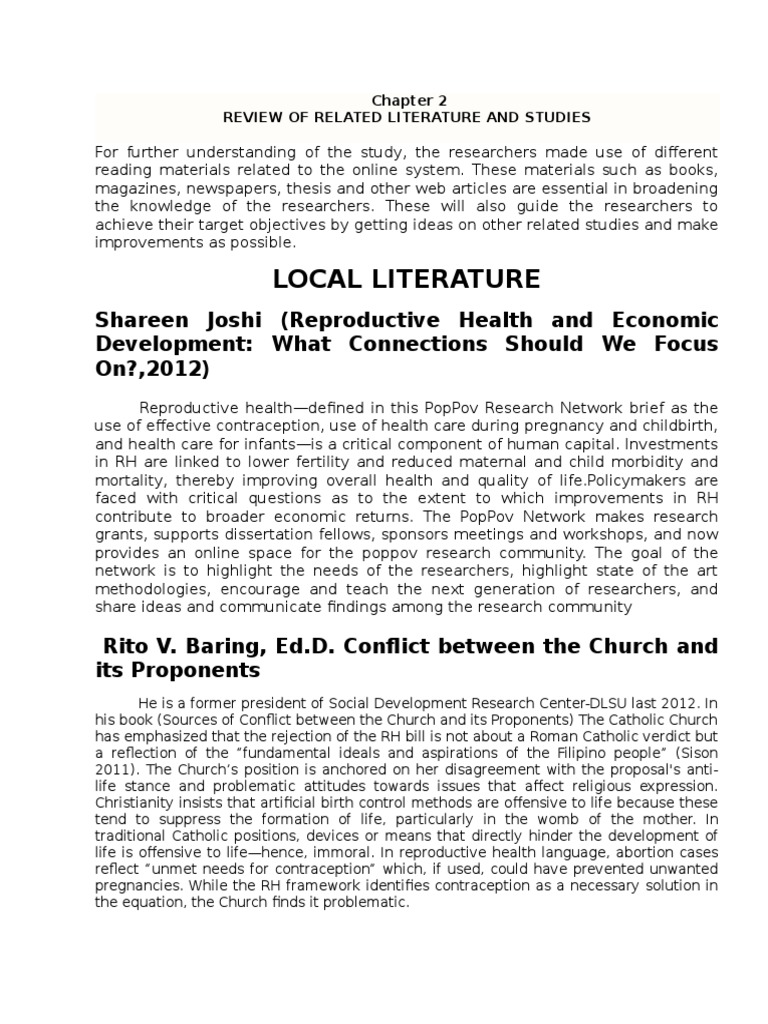chapter 2 on related studies Chapter 2 review of related literature and studies local this chapter presents a survey of related literature and studies conducted that will help the.