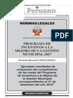 Aprueban resultados de evaluación del cumplimiento de las metas del Programa de Incentivos a la Mejora de la Gestión Municipal correspondientes al 31 de diciembre del año 2016