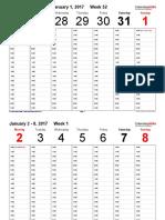 Weekly Calendar 2017 Landscape Time Management 1 Hour