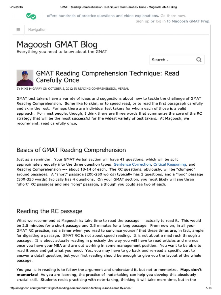 GMAT Reading Comprehension Technique Read Carefully Once