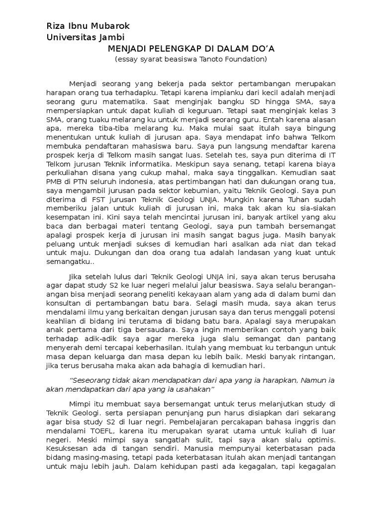 Contoh Essay Untuk Beasiswa Materi Pelajaran 6
