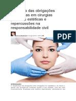Natureza Das Obrigações Assumidas Em Cirurgias Plásticas Estéticas e Repercussões Na Responsabilidade Civil.docx 2015
