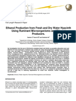 Ethanol Production From Fresh and Dry Water Hyacinth Using Ruminant Microorganisms and Ethanol Producers
