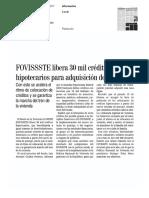 06/Marzo/2017 FOVISSSTELibera30MilCréditos Hipotecarios Para Adquisición de Vivienda