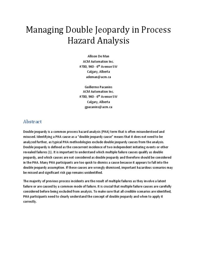 Managing Double Jeopardy in Process Hazard Analysis - Allison de Man ...
