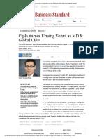 Cipla Names Umang Vohra as MD & Global CEO _ Business Standard News