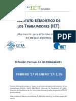 La inflación en febrero fue de más del 28% interanual según el IET
