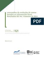 Indicadores de evolución de ventas basados en información fiscal.