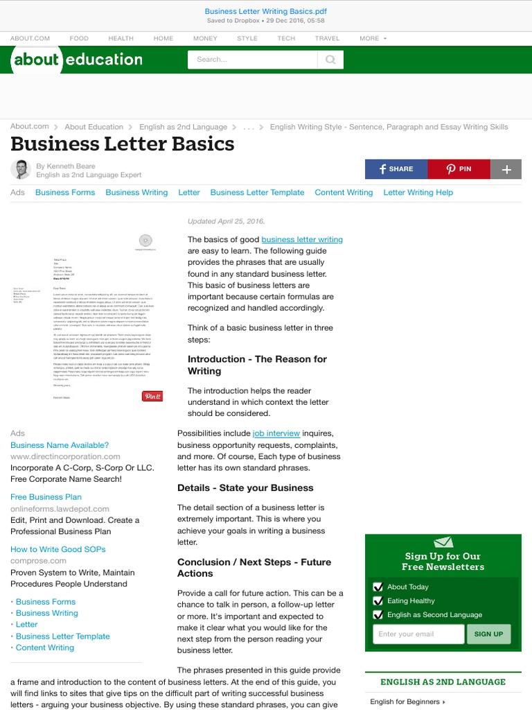 Business Letter Writing Basics English Language English As A