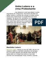 Matinho Lutero e a Reforma Protestante Trabalho Itq 2017