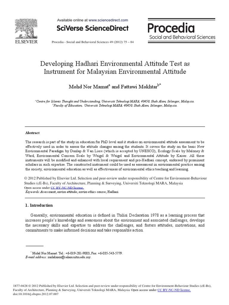 Developing Hadhari Environmental Attitude Test As Instrument For