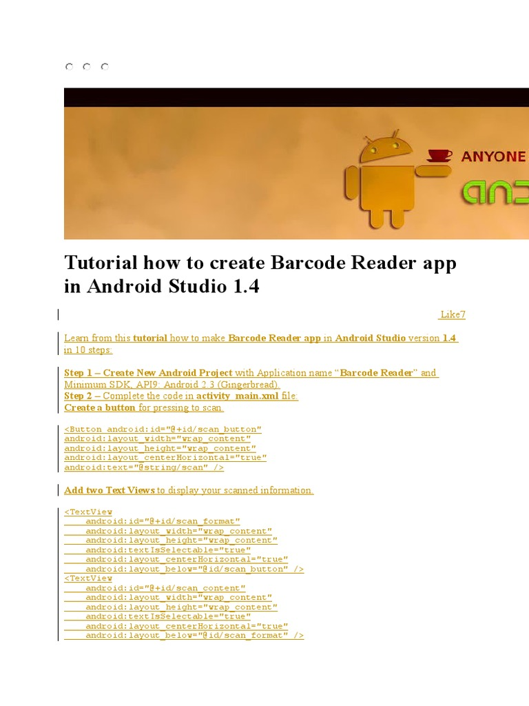 Tutorial How to Create Barcode Reader App in Android Studio 1