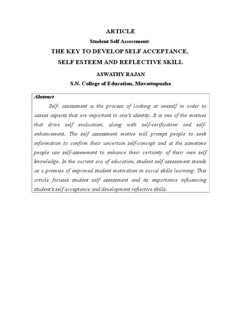 ARTICLE ON SELF ACCEPTANCE | Educational Assessment | Psychological