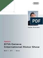 Speech Audi Sport GmbH Geneva International Motor Show 2017