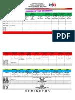 Schedule of Examinations
