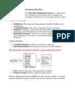Database Management System Study Notes