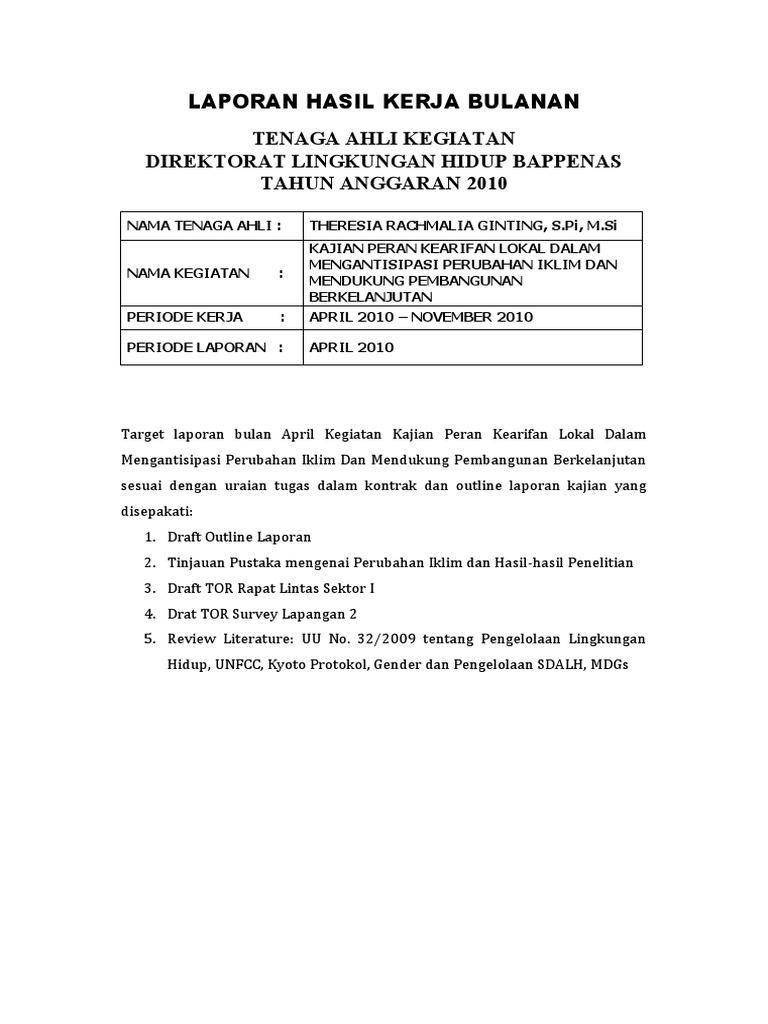 Laporan Hasil Kerja Bulanan Theresia April