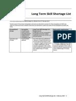 Long Term Skill Shortage List
