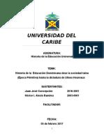 Historia de La Educacion de La Sociedad Taina y Ulises Hereuax