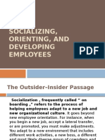 Socializing,Orientin and Developig Employees
