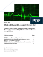 HUCM Student Research  Newsletter (Sept. 2016)