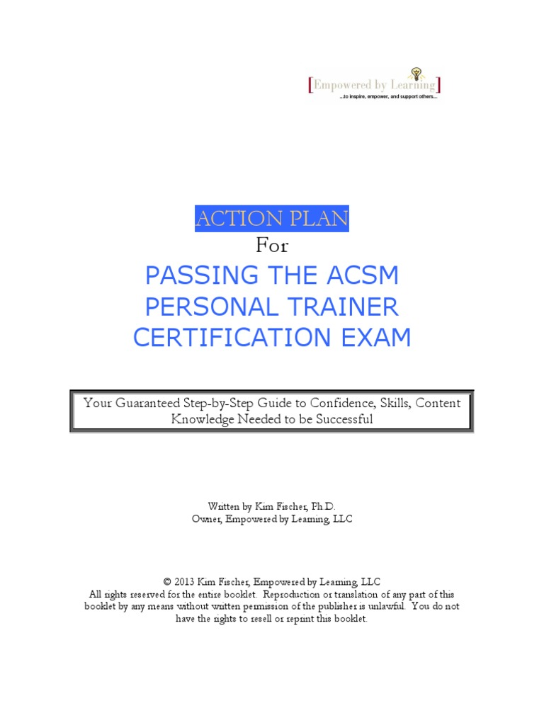 Action Plan For Acsm Cpt Exam Professional Certification Test