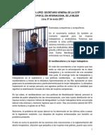 Discurso de Gerónimo López, SG de la CGTP en el acto por el Día Internacional de la Mujer 2017