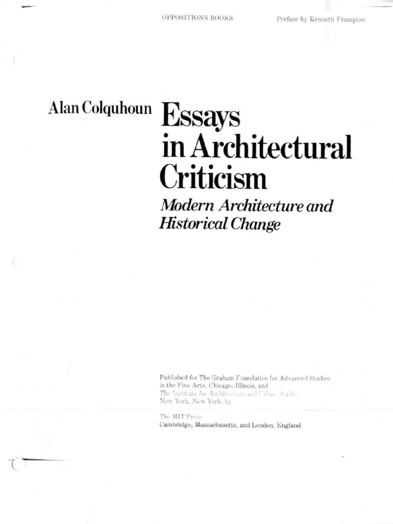 Modern Architecture Alan Colquhoun essays in architectural criticism