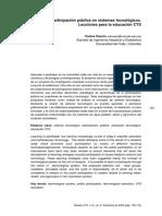 La participación publica en sistemas tecnológicos. Lecciones para la educación CTS