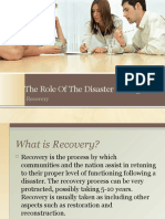 The Role of the Disaster Manager Recovery