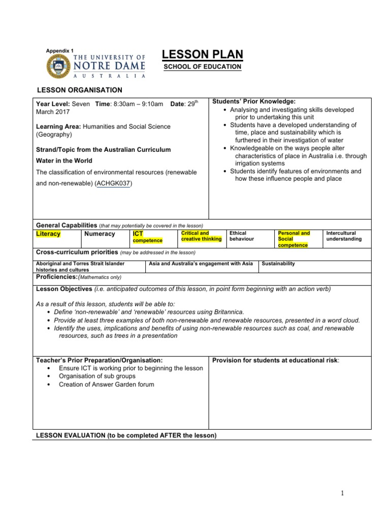 worksheet Renewable And Nonrenewable Resources Worksheets lesson plan template ict sustainability educational technology