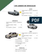 Catalogo de Lavado de Vehiculos
