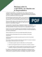 Algunas Reflexiones Sobre La Metodología Del GEM y Su Relación Con La Educación