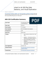 Certification Guide on SAS Big Data Preparation, Statistics, and Visual Exploration (A00-220) Professional Exam