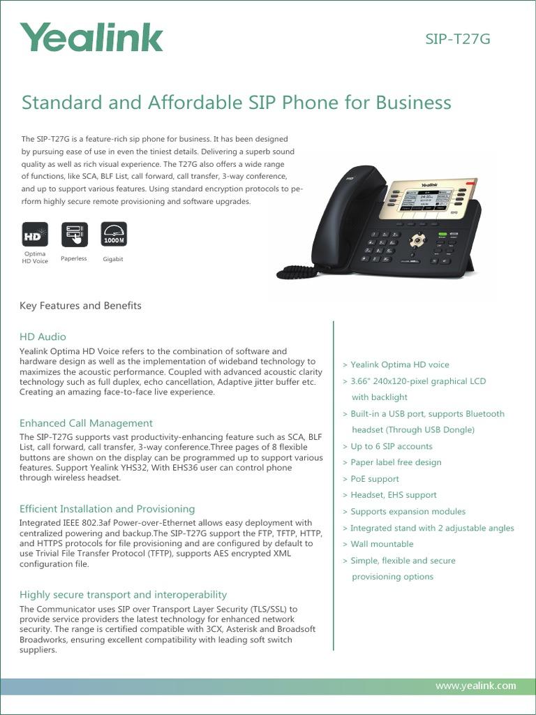 Yealink SIP-T27G Gigabit Business IP Desktop Phone | Session