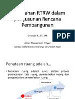 Penelaahan RTRW Dalam Rencana Pembangunan