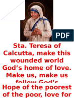 Sta Teresa of Calcutta Prayer