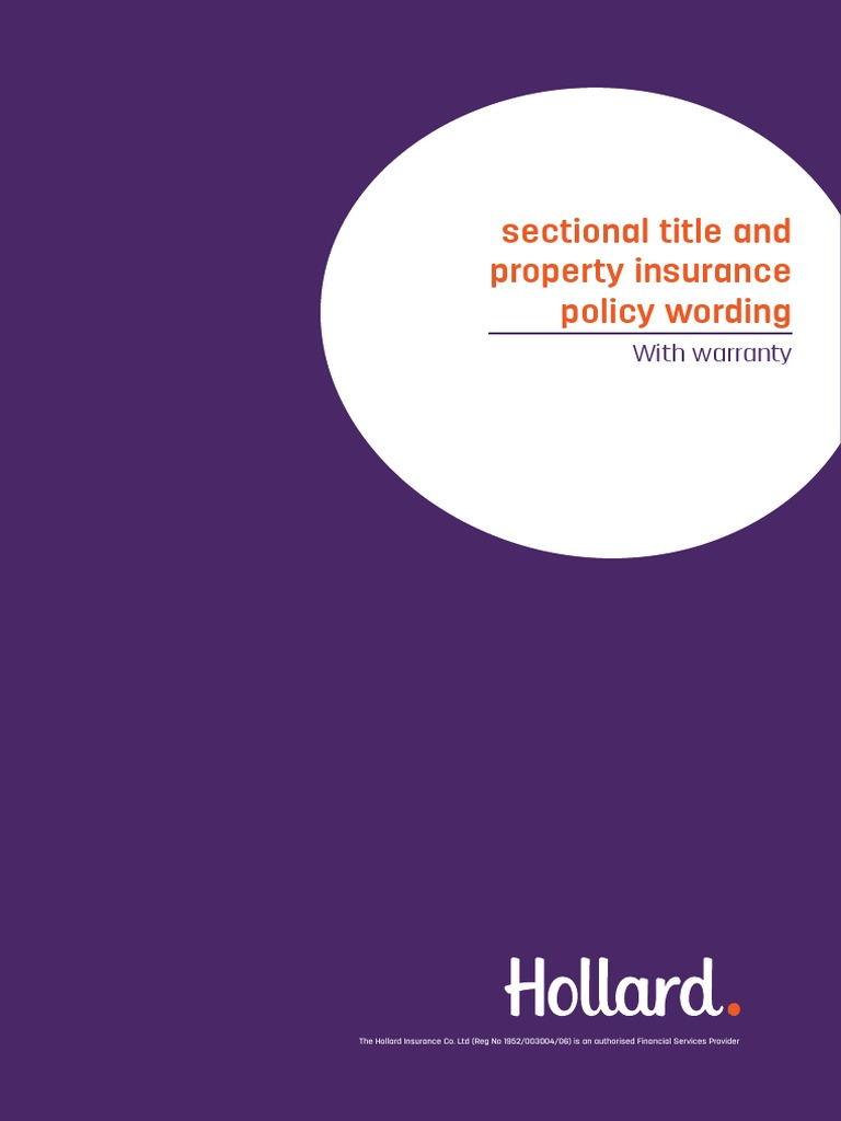 Hollard Sectional Title and Property Insurance Policy With Warranty | Indemnity | Insurance