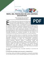 Papel Del Psicólogo en Los Centros Educativos