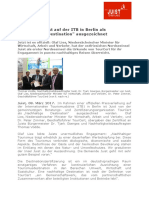 """+++ Pressemeldung - KlimaInsel Juist auf der ITB in Berlin als """"Nachhaltige Destination"""" ausgezeichnet  +++"""