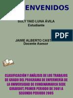 Clasificaicon y Analisis de Los Trabajos de Grado