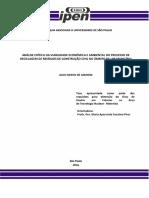 Análise Crítica Da Viabilidade Econômica e Ambiental Do Processo de Reciclagem de Resíduos de Construção Civil No Âmbito de Um Município