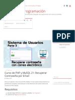 Curso de PHP y MySQL 21_ Recuperar Contraseña Por Email – Códigos de Programación