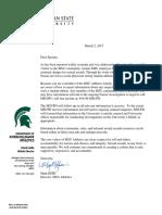 MSU AD Mark Hollis letter to female athletes