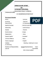 Cirruculum Vitae of Symone Perumal