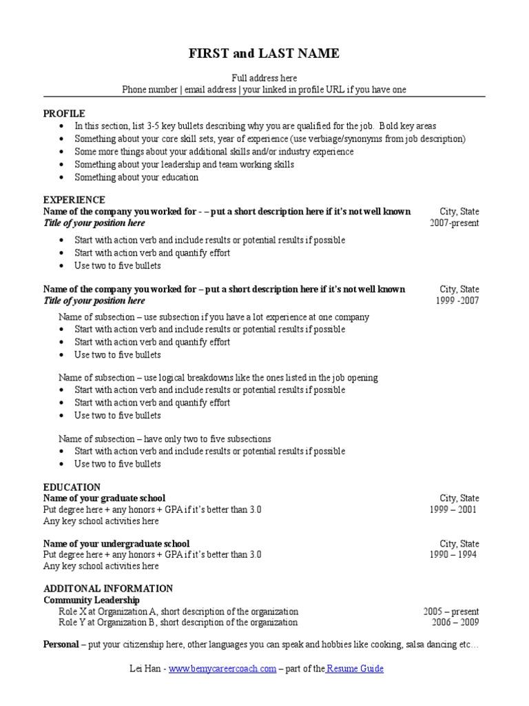 Wharton Resume Template | Résumé | Cognition